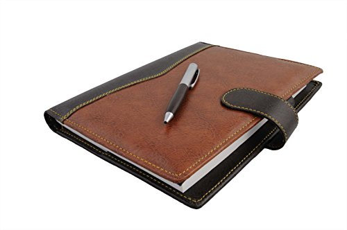 COI ELEGANT BROWN AND BLACK LEATHERITE DIARY 2017 WITH PEN