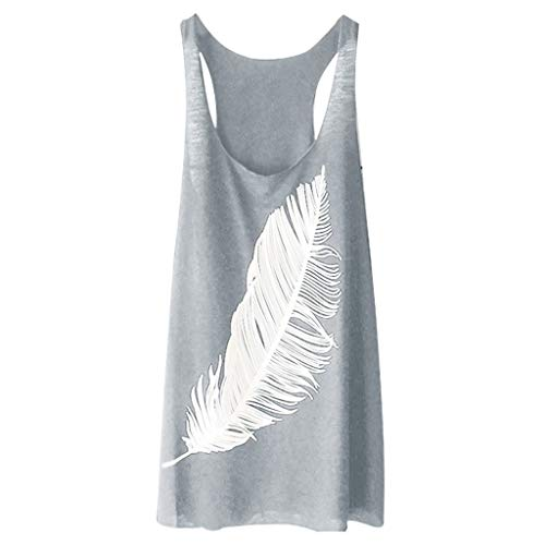 Alangbudu Women's Blouse Tunic Vests Crop Top Basic Solid Sporty Jersey Racer Back Sleeveless Loose Fit Feather Tank Top Gray