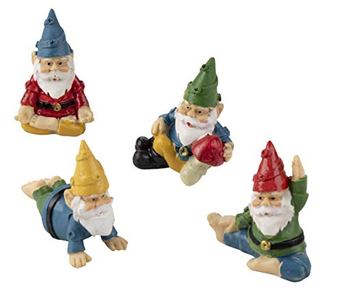 Juvale Miniature Gnome Set - 4-Piece Mini Yoga Gnome Figurines, Decorative Accessories for Fairy Garden, 4 Small Assorted Characters, Potted Plants Decor, Home, Tabletop Decoration, Housewarming Gift (Miniature Gardens For Miniature Plants)