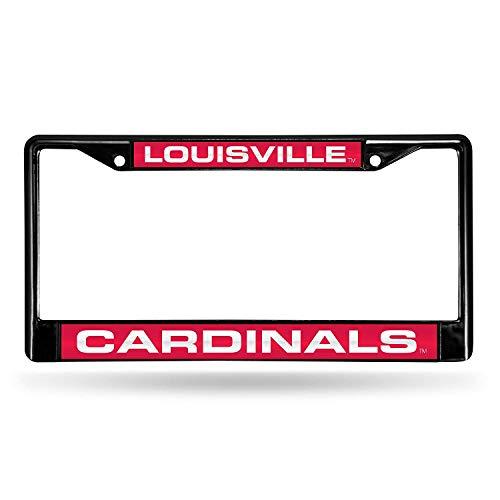 (B.Fighting Louisville Cardinals Laser Black License Plate Frame)
