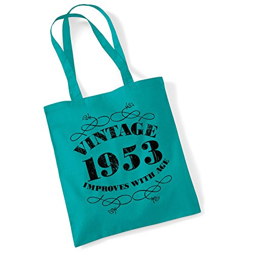 Shopper with improves Printed Cotton Women age 1953 Vintage Bags For Tote Gifts Emrld Bag XwvIASqz
