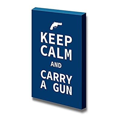 Canvas Wrap Wall Art - Keep Calm and Carry a Gun | Modern Wall Art Stretched Canvas Prints Ready to Hang - 24