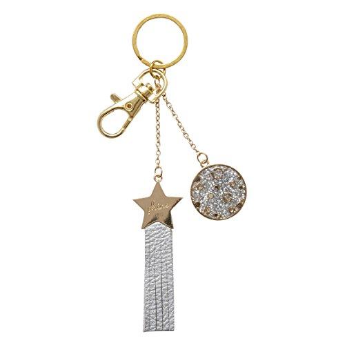C.R. Gibson Key Chain, Metal & Glitter Enamel, Metallic Leatherette Ribbon Tails, Key Ring, Measures 2
