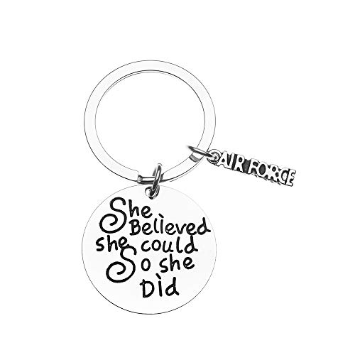 (US Air Force She Believed She Could So She Did Keychain, Inspirational Military Key Rings Gift for Air Force Daughter, Wife, Mom, Sister or Niece)