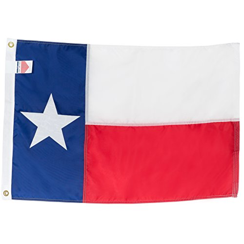 Texas State Flag 2x3 Heavy Duty TX Flag - 100% Made in USA Flags - Appliqué Nylon Lone Star Banner, Quadruple Stitched Fly End, Outdoor & Weather-Resistant, Vibrant, Brass Grommets for Easy Display Applique Embroidered Banner Flag
