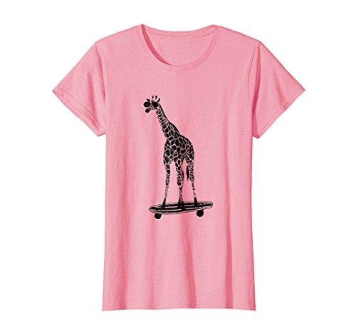 Womens Giraffe on a Skateboard T-Shirt - With Sunglasses Medium Pink