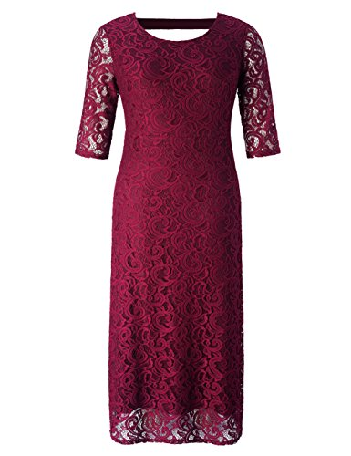 Chicwe Women's Plus Size Stretch Lace Maxi Dress - Evening Wedding Cocktail Party Dress Red 1X -