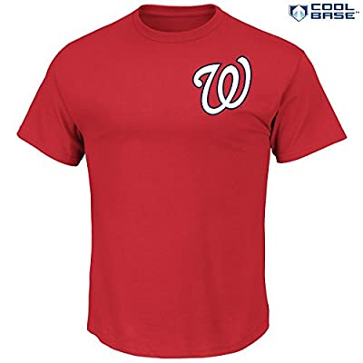 MLB Men's Team Wordmark Cool Base Synthetic T-Shirt (XXLarge, Washington Nationals)