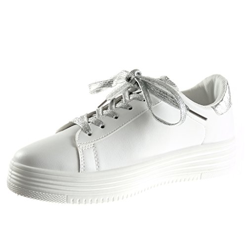 Serpente Moda Sneaker 3 Lucide Angkorly Zeppa Zeppe 5 Scarpe Tennis cm Pelle Argento di Piattaforma Tacco Low Donna Paillette g5wpzq