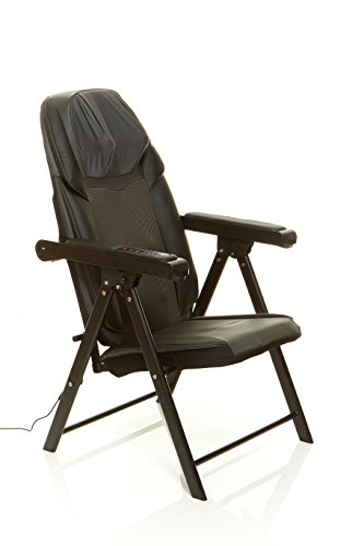 Sharper Image Foldable Massage Chair, Shiatsu Back Massager, Muscle Kneading, Folds Easily to Save Space (Outlet -