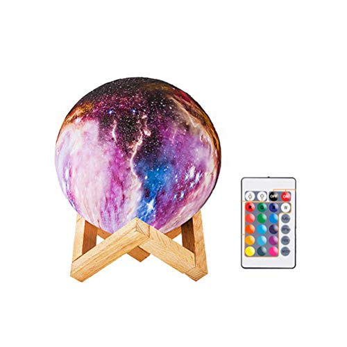 - OSALADI 8 cm Painted 3D Moon Lamp Night Light 16 LED Colors with Wooden Stand con Remote Control Light Lamp for Party/Pub/Concert Gift for Kids (As Shown)