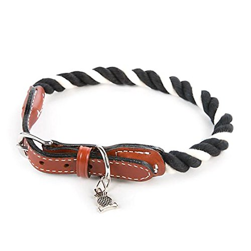- MacKenzie-Childs Pet Collar Black White Twisted Choker Cotton Rope Band for Dog, Cat - Large - 22