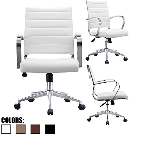 Back Swivel Contemporary Mid (2xhome White Contemporary Modern Mid Back Ribbed PU Leather Swivel Tilt Adjustable Chair Designer Boss Executive Management Manager Office Conference Room Work Task Computer Lumbar Support Comfortable)