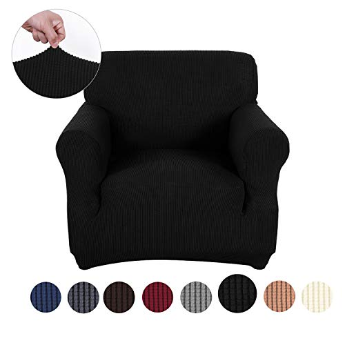 sancua Stretch Spandex Armchair Slipcover Anti-Slip Sofa Cover with Elastic Bottom for Living Room 1 Piece Couch Covers Furniture Protector Cover for Dogs, Cats and Pets (Chair, Black)