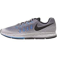 Nike Men's AIR ZOOM PEGASUS 33 SHIELD, Cool Grey / Black - Wolf Grey - Blue