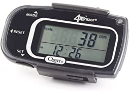 Ozeri 4x3razor Pocket 3D Pedometer and Activity Tracker with Bosch Tri-Axis Technology from Germany, Black