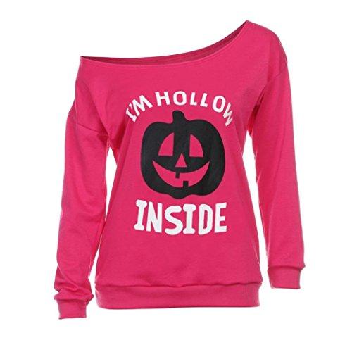 Blouses for Womens, FORUU Halloween Print Long Sleeve One Shoulder Shirt Hoodies -