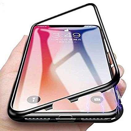 huge discount b86f4 cf79e Axxeum 360 Degree Magnetic Adsorption Metal Bumper Tempered Glass Clear  Shockproof Full Cover Case for iPhone 7G and 8G(Black)