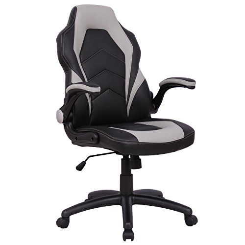Cheap Giantex Gaming Chair Racing Chair High Back Swivel Adjustable Ergonomic Executive Gaming Desk Office Chair with Bucket Seat (Gray)