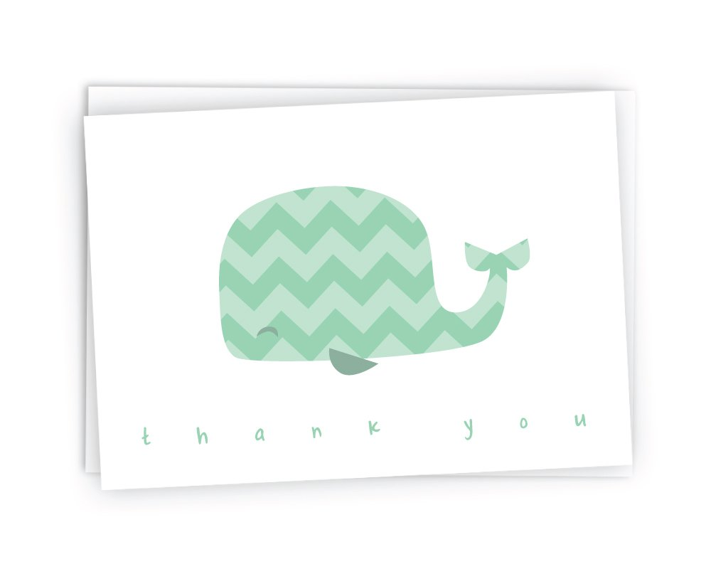 Colorful Chevron Whales Baby Thank You Note Cards – 48 Cards Envelopes Green