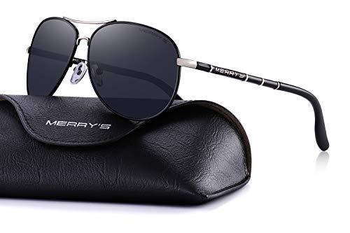 Wide Oval Composite Bamboo - MERRY'S Polarized Sunglasses Men's Driver Glasses Bamboo Leg S8766 (Black, 62)
