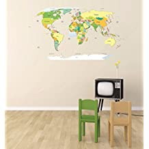 Wall Decal Sale : Map Of The World School Classroom Teacher Students Size: 20 Inches X 30 Inches - 22 Colors Available