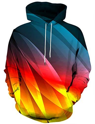 Linnhoy Unisex Galaxy Print Hoodie Digital Printing Sweatshirts Sweater Pullover, Medium