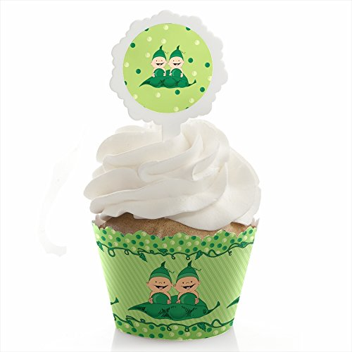 Big Dot of Happiness Twins Two Peas In A Pod - Baby Shower or Birthday Party Cupcake Wrapper and Pick - Cupcake Decorating Kit - Set of 24 by Big Dot of Happiness