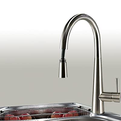Brushed Nickel Finish Pull-down Kitchen Sink Faucet Single Lever Handle Single Hole Deck Mount Free Swivel Spout Mixer Valve Water Tap
