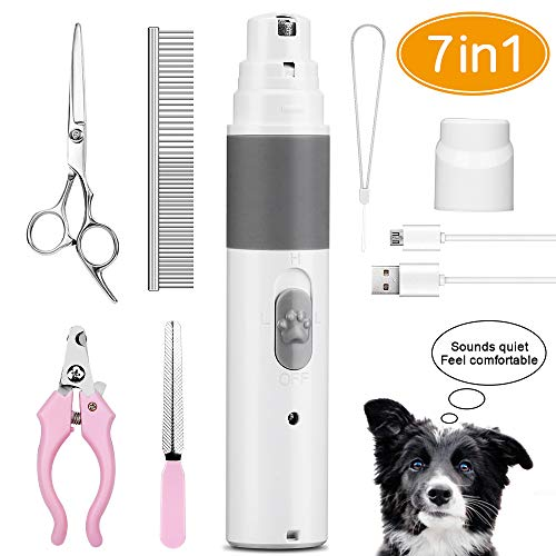 Senignol Dog Nail Grinder, Electric Dog Nail Trimmer Clipper Ultra-Quiet Painless Pet Claw Grooming Trimmer Rechargeable Nail Grinder for Large Small Dogs and Cats ()