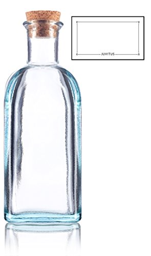 Clear Spanish Thick Recycled Glass Bottle with Natural Cork Top - Large - 17 oz / 500 ml (Glass Bottles Large Decorative)