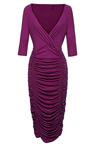 VIISHOW Womens Plus Size Deep V Neck Wrap Ruched Waisted Bodycon Dress L Purple