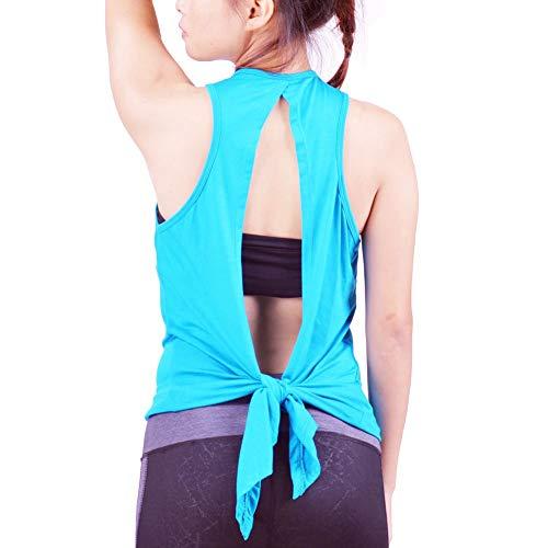 Lofbaz Women's Open Back Yoga Shirt Tie Back Workout Clothes Racerback Tank Tops Ladies Female Party Going Out Night Club Flowy Apparel Cami Vest - Light Blue - L