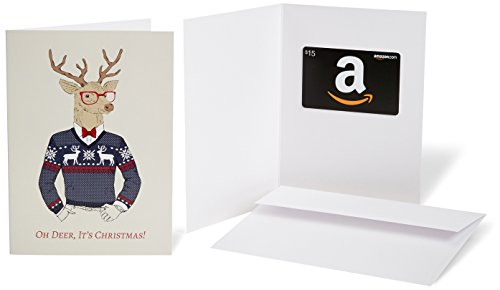 Amazon.com $15 Gift Card in a Greeting Card (Christmas Deer Design)