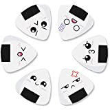 Dulphee Guitar Picks White Sushi Rice Balls Pattern Classical Triangle 0.96mm Guitar Plectrums 12 Pack for Bass, Acoustic & Electric Guitars
