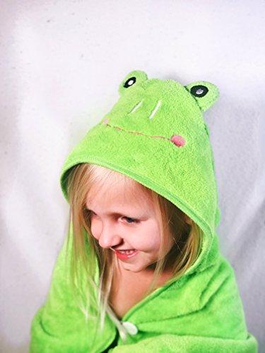 - Voilet's Hope Hooded Infant/Toddler Towel/Bathrobe for Girl or Boy - Green Frog