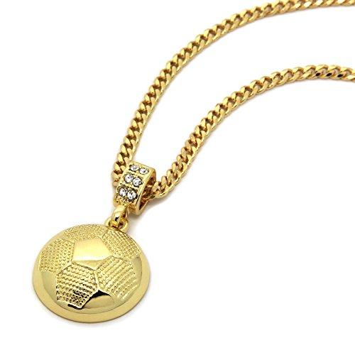 - Men's 14k Gold Tone Soccer Ball Pendant with 3mm 30
