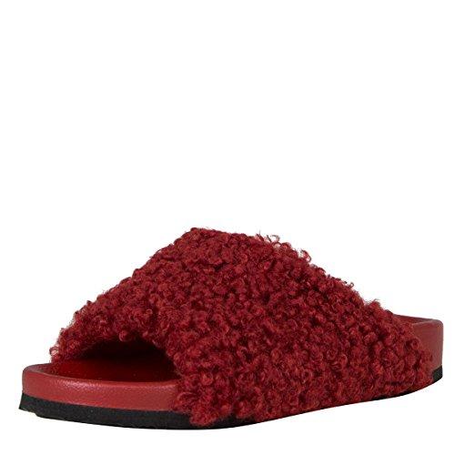 ANNA Womens Open Toe Sherling Faux Wool Fur Mules Flat Sandal Slipper Burgundy A22G4yHN