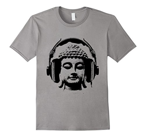 Mens Buddha Wear Headphones DJ Music T-shirt, Headphones T-Shirt Large Slate