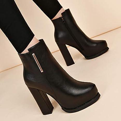 Shukun Botines Zapatos de Mujer de otoño e Invierno, más Botas de Terciopelo Retro Martin