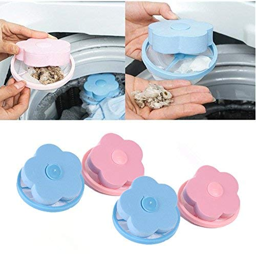 Washing Machine Floating Lint- 4 Pcs Reusable Washing Machine Filter Mesh Bag Hair Filter Net Pouch(2Blue & 2Pink)