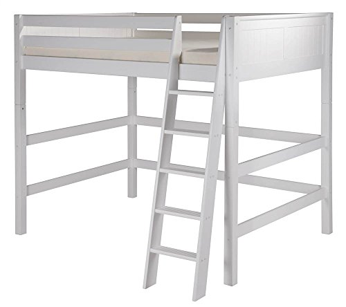 Camaflexi Panel Style Solid Wood High Loft Bed, Full, Side Angled Ladder, White