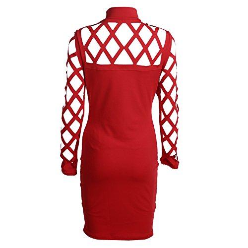 Cocktail Red amazingdeal Dress Party Bodycon Women Sexy Bandage Mini Dress Women wB5pq0v60