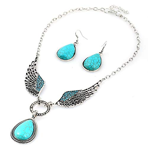 Yanvan Womens Wedding Bridal Jewelry Sets, Woman Ladies Fashion Simple Temperament Openwork Turquoise Droplet Necklace Earrings Set ()