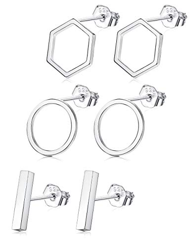 Sllaiss 3 Pairs 925 Sterling Silver Stud Earrings Set Bar Earrings Geometric for Men Women Circle Earrings Hexagon Hypoallergenic Different Shapes