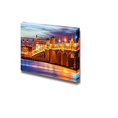 Canvas Prints Wall Art - St. Augustine, Florida, USA City Skyline and Bridge of Lions at Night | Modern Wall Decor/Home Art Stretched Gallery Canvas Wraps Giclee Print & Ready to Hang - 32