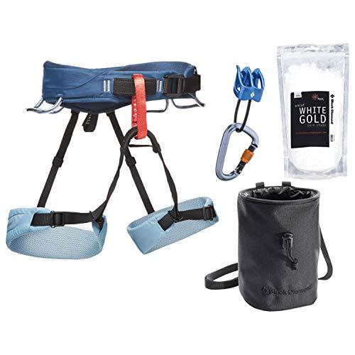 Sport Climbing Package - Black Diamond Momentum Climbing Harness Package - Women's Stone Blue Medium