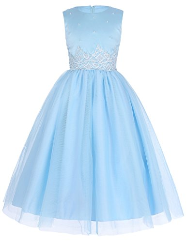 Threeseasons Girls Special Occasion Dress with Appliques for 5-6 Years, Light Blue Beaded Silk Organza Dress
