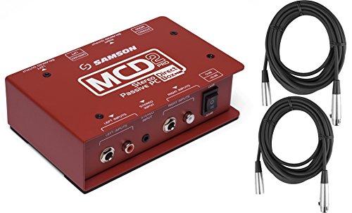 Samson MCD2 PRO Professional Stereo Computer/DJ Direct Box (Shielded Transformer) w/ 2 XLR Cables by Samson Technologies