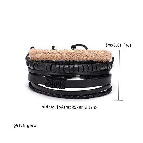 (Gatton Men Women Punk Multilayer Leather Bracelet Braided Bangle Wristband Set | Model BRCLT - 44060 | 4pcs/Set Men Bracelet)